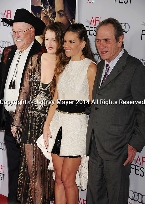 HOLLYWOOD, CA - NOVEMBER 11: (L-R) Actors Barry Corbin, Grace Gummer, Hilary Swank, and actor/director Tommy Lee Jones attend the 'The Homesman' premiere during AFI FEST 2014 presented by Audi at the Dolby Theater on November 11, 2014 in Hollywood, California.