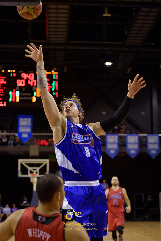 Saints'  Joshua Duinker in action during the NBL - Wellington Saints v Canterbury Rams   at TSB Bank Arena, Wellington, New Zealand on Saturday 8 April 2017.<br /> Photo by Masanori Udagawa<br /> www.photowellington.photoshelter.com.