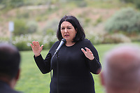 May 3 2019. Carlsbad, CA. | Southwestern Community College Trustee Nora Vargas  talks at Community Call to Action Led by Community Leaders and Local Elected Officials in Response to Poway Shooting held at Alga Norte Community Park in Carlsbad. | Photos by Jamie Scott Lytle. Copyright.