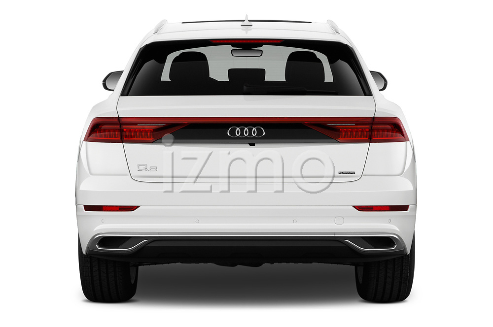 Straight rear view of a 2019 Audi q8 Premium Plus 5 Door SUV stock images