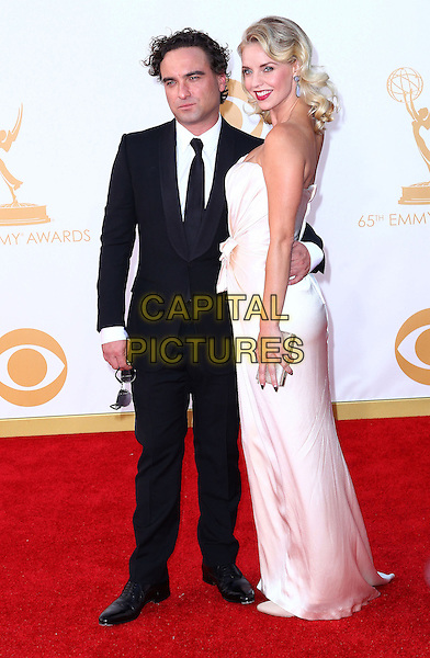 Johnny Galecki, Kelli Garner<br /> 65th Annual Primetime Emmy Awards - Arrivals held at Nokia Theatre L.A. Live.  Los Angeles, California, USA.<br /> September 22nd, 2013<br /> full length strapless silk satin dress couple black white tie suit<br /> CAP/ADM/REH<br /> &copy;Russ Einhorn/AdMedia/Capital Pictures