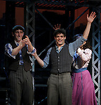 Ben Frankhauser, Kara Lindsay & Jeremy Jordan.during the 'NEWSIES' Opening Night Curtain Call at the Nederlander Theatre in New York on 3/29/2012