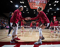 Stanford, CA - January 24, 2020: Jenna Brown, Lexie Hull at Maples Pavilion. The Stanford Cardinal defeated the Colorado Buffaloes in overtime, 76-68.