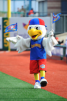 Brooklyn Cyclones mascot Pee Wee during game against the Hudson Valley Renegades at MCU Park on July 28, 2013 in Brooklyn, NY.  Brooklyn defeated Hudson Valley 4-2.  Tomasso DeRosa/Four Seam Images