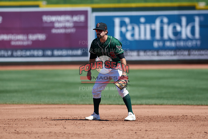 Great Lakes Loons first baseman Luke Heyer (16) during a Midwest League game against the Wisconsin Timber Rattlers at Dow Diamond on May 4, 2019 in Midland, Michigan. Great Lakes defeated Wisconsin 5-1. (Zachary Lucy/Four Seam Images)
