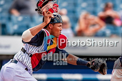 22 July 2018: Syracuse SkyChiefs catcher Pedro Severino in action against the Louisville Bats at NBT Bank Stadium in Syracuse, NY. The Bats defeated the Chiefs 3-1 in AAA International League play. Mandatory Credit: Ed Wolfstein Photo *** RAW (NEF) Image File Available ***