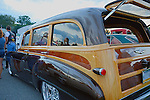 Classic Chevy Woody with hand painted simulated wood detailing at custom car show at Mineral Beach in Finleyville PA. near Pittsburgh.