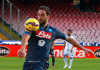 Gonzalo Higuain    in action during the Italian Serie A soccer match between   SSC Napoli and Empolii    at San Paolo   stadium in Naples , December 07, 2014