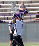 JD Colarusso (#9) celebrates at the final whistle as UAlbany Lacrosse defeats Vermont 14-4  in the American East Conference Championship game at Casey Stadium, May 5.