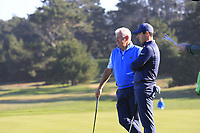 Rory and Gerry McIlroy (NIR) on the 2nd green at Spyglass Hill during Thursday's Round 1 of the 2018 AT&amp;T Pebble Beach Pro-Am, held over 3 courses Pebble Beach, Spyglass Hill and Monterey, California, USA. 8th February 2018.<br /> Picture: Eoin Clarke | Golffile<br /> <br /> <br /> All photos usage must carry mandatory copyright credit (&copy; Golffile | Eoin Clarke)