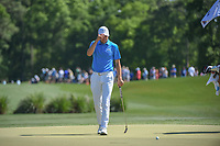 Jordan Spieth (USA) acknowledges the gallery as he approaches his tight approach shot on 2 during round 3 of the Houston Open, Golf Club of Houston, Houston, Texas. 3/31/2018.<br /> Picture: Golffile | Ken Murray<br /> <br /> <br /> All photo usage must carry mandatory copyright credit (&copy; Golffile | Ken Murray)
