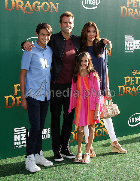 8 August 2016 - Los Angeles, California - Cameron Mathison, wife Vanessa Arevalo and their children Lucas Arthur Mathison and Leila Emmanuelle Mathison. Pete's Dragon World Premiere held at El Capitan Theatre in Hollywood. Photo Credit: AdMedia