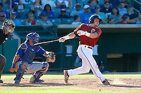 Tyler Heineman #26 of the Lancaster JetHawks bats against the Rancho Cucamonga Quakes during a game at The Hanger on August 25, 2013 in Lancaster, California. Lancaster defeated Rancho Cucamonga, 7-1. (Larry Goren/Four Seam Images)
