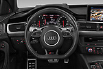 Car pictures of steering wheel view of a 2019 Audi RS 6 Avant Base 5 Door Wagon