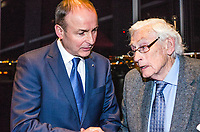 Rep of Ireland Fianna Fail leader Michael Martin with former SDLP leader Seamus Mallon at 25th January 2018 book launch, John Hume in America: Derry to DC at Titanic Belfast, 201801254816<br /><br />Copyright Image from Victor Patterson, 54 Dorchester Park, <br />Belfast, UK, BT9 6RJ<br /><br />t1: +44 28 9066 1296 (from Rep of Ireland 048 9066 1296)<br />t2: +44 28 9002 2446 (from Rep of Ireland 048 9002 2446)<br />m: +44 7802 353836<br /><br />victorpatterson@me.com<br />www.victorpatterson.com<br /><br />Please see my Terms and Conditions of Use at VICTORPATTERSON.COM. It is IMPORTANT that you familiarise yourself with them.<br /><br />Images used on the Internet must be visibly watermarked i.e. &copy;VICTORPATTERSON.COM within the body of the image and copyright metadata must not be deleted. Images used on the Internet have a size restriction of 4kbs and are chargeable at the then current NUJ rates.<br /><br />This image is only available for the use of the download recipient i.e. television station, newspaper, magazine, book publisher, etc, and must not be passed on to any third party. It is also downloaded on condition that each and every usage is notified within 7 days to victorpatterson@me.com<br /><br />The right of Victor Patterson to be identified as the author is asserted in accordance with The Copyright Designs And Patents Act (1988).