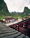 CHINA, Guilin, view of the countryside from the Moon Hill Restaurant, rural farmland ouside of Guilin