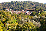 Church and village houses of Santa Ana de Real, Sierra de Aracena, Huelva province, Spain
