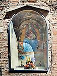 Wall alcove shrine, Church of the Madonna dei Lumi, San Gimignano, Siena-Tuscano, Italy