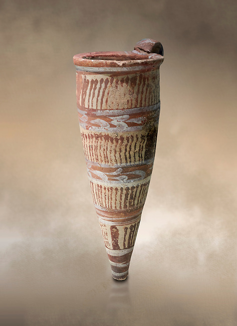 Minoan Thiran conical rhython decorated with vertical bands of wavy lines, Akrotiri, Thira (Santorini) National Archaeological Museum Athens. 17th-16th cent BC.