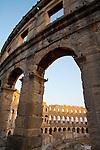 Croatia, Istria, Pula, Roman amphitheater, 1st century Roman ruins, 6th largest Roman arena, architecture, Istrian coast, Adriatic Sea, Europe,