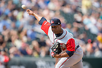 Gwinnett Braves relief pitcher Joel De La Cruz (40) delivers a pitch to the plate against the Charlotte Knights at BB&T BallPark on May 22, 2016 in Charlotte, North Carolina.  The Knights defeated the Braves 9-8 in 11 innings.  (Brian Westerholt/Four Seam Images)