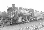 3/4 front fireman side view of K-36 #486 at Alamosa.<br /> D&amp;RGW  Alamosa, CO  Taken by Payne, Andy M. - 5/5/1954