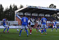 Craig Disley of Grimsby Town shoots at goal during the Vanarama National League match between Eastleigh and Grimsby Town at The Silverlake Stadium, Eastleigh, Hampshire on Nov 21, 2015. (Photo: Paul Paxford/PRiME)