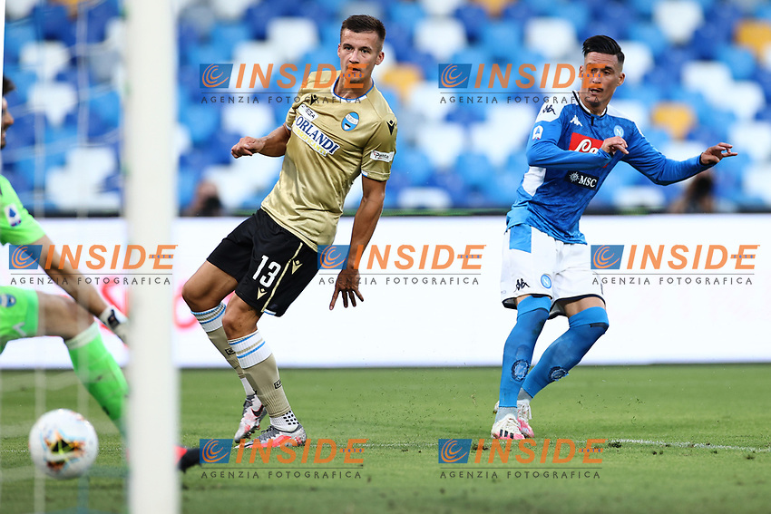 Jose Callejon of Napoli scores a goal <br /> during the Serie A football match between SSC  Napoli and SPAL at stadio San Paolo in Naples ( Italy ), June 28th, 2020. Play resumes behind closed doors following the outbreak of the coronavirus disease. <br /> Photo Cesare Purini / Insidefoto