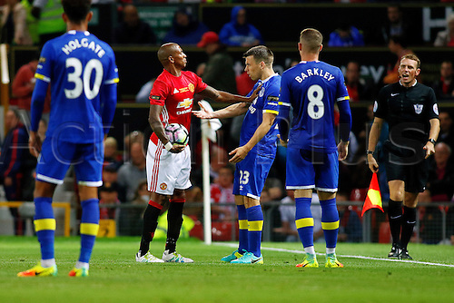 03.08.2016. Old Trafford, Manchester, England. Wayne Rooney Testimonial Football Match. Manchester United versus Everton. Ashley Young of Manchester United pushes Seamus Coleman of Everton during an on-ball argument