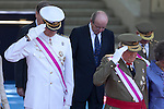 Spanish Royals King Juan Carlos of Spain and Prince Felipe of Spain attend 2014 Spain Armed Forces Day in Madrid, Spain. June 08, 2013. (ALTERPHOTOS/Victor Blanco)