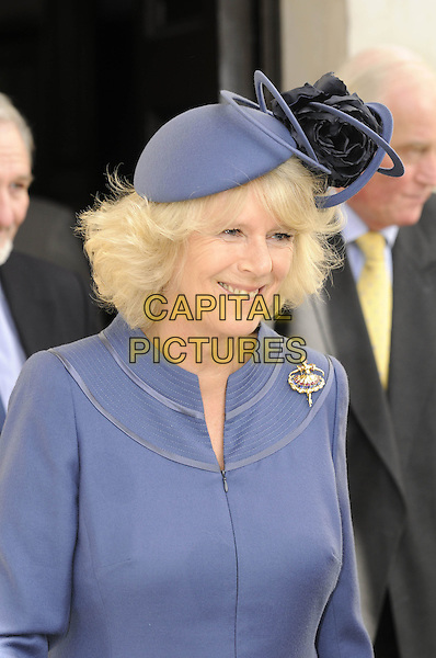 CAMILLA, DUCHESS OF CORNWALL.At a service of Thanksgiving for the renewal of St. Martin-in-the-Fields Church in London, England, .April 28, 2008..half length Parker Bowles royal blue hat jacket ballerina brooch pin   .CAP/DH.©David Hitchens/Capital Pictures