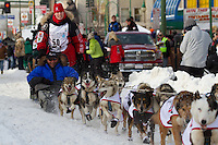 2010 Iditarod Ceremonial Start in Anchorage Alaska musher # 50 AILY ZIRKLE with Iditarider KEN PRIVATSKY
