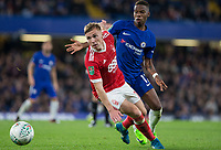 Ben Osborn of Notthingham Forest turns Charly Musonda of Chelsea during the Carabao Cup (Football League cup) 23rd round match between Chelsea and Nottingham Forest at Stamford Bridge, London, England on 20 September 2017. Photo by Andy Rowland.