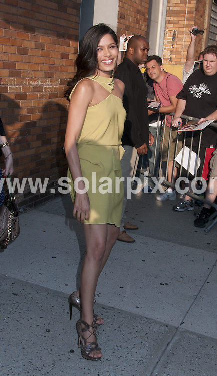**ALL ROUND PICTURES FROM SOLARPIX.COM**                                             **SYNDICATION RIGHTS FOR UK, AUSTRALIA, DENMARK, PORTUGAL, S. AFRICA, SPAIN & DUBAI (U.A.E) & ASIA (EXCLUDING JAPAN) ONLY**                                                                                  Caption: Freida Pinto outside the Daily Show with Jon Stewart, at the Comedy Central Studio - New York City, NY, USA. August 1, 2011                                                                              This pic: Freida Pinto                                                                                             JOB REF: 13807 PHZ Mayer      DATE: 01_08_2011                                                            **MUST CREDIT SOLARPIX.COM OR DOUBLE FEE WILL BE CHARGED**                                                                      **MUST AGREE FEE BEFORE ONLINE USAGE**                               **CALL US ON: +34 952 811 768 or LOW RATE FROM UK 0844 617 7637**