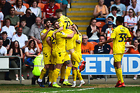 Fleetwood Town's Ched Evans celebrates scoring his side's first goal <br /> <br /> Photographer Richard Martin-Roberts/CameraSport<br /> <br /> The EFL Sky Bet League One - Blackpool v Fleetwood Town - Monday 22nd April 2019 - Bloomfield Road - Blackpool<br /> <br /> World Copyright © 2019 CameraSport. All rights reserved. 43 Linden Ave. Countesthorpe. Leicester. England. LE8 5PG - Tel: +44 (0) 116 277 4147 - admin@camerasport.com - www.camerasport.com
