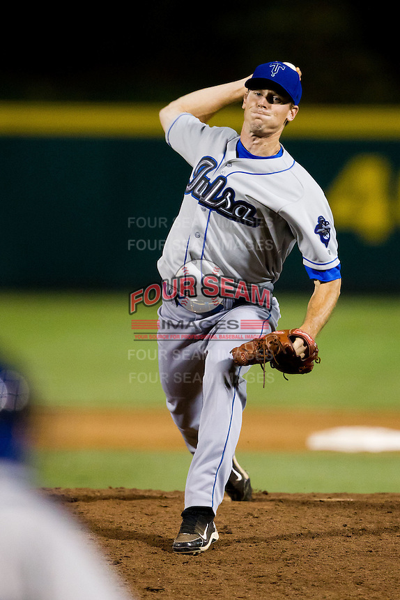 Stephen Dodson (19) of the Tulsa Drillers delivers a pitch during a game against the Springfield Cardinals at Hammons Field on July 18, 2011 in Springfield, Missouri. Tulsa defeated Springfield 13-8. (David Welker / Four Seam Images).