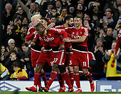 5th November 2017, Goodison Park, Liverpool, England; EPL Premier League Football, Everton versus Watford; Christian Kabasele of Watford (27) is congratulated by his team mates after scoring his team's second goal after 64 minutes