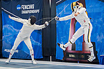 UNIVERSITY PARK, PA - MARCH 25: Marc Blais-Antoine of Ohio State University takes on Ariel Simmons of Notre Dame University in the semifinal epee competition during the Division I Men's Fencing Championship held at the Multi-Sport Facility on the Penn State University campus on March 25, 2018 in University Park, Pennsylvania. (Photo by Doug Stroud/NCAA Photos via Getty Images)