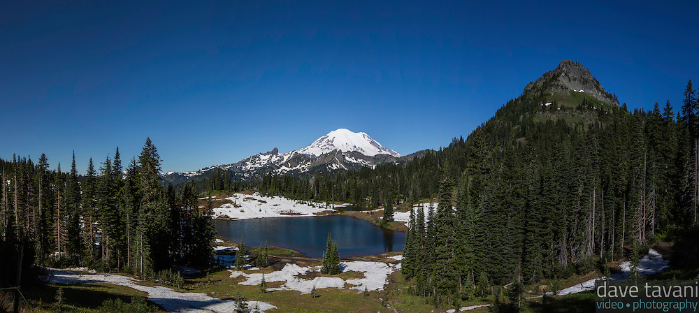 Tipsoo Lake sits along the Naches Peak Loop Trail and offers a nice view of Mt. Rainier.