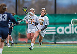 25 April 2015: University of Vermont Catamount Defender Taylor Pedersen, a Senior from Nyack, NY, in action against the University of New Hampshire Wildcats at Virtue Field in Burlington, Vermont. The Lady Catamounts defeated the Lady Wildcats 12-10 in the final game of the season, advancing to the America East playoffs. Mandatory Credit: Ed Wolfstein Photo *** RAW (NEF) Image File Available ***