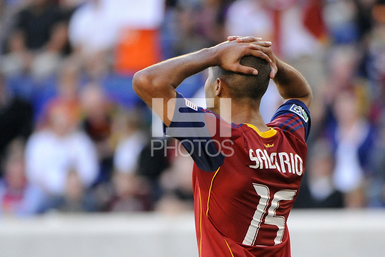Alvaro Saborio (15) of Real Salt Lake reacts to a missed scoring opportunity. The New York Red Bulls and Real Salt Lake played to a 0-0 tie during a Major League Soccer (MLS) match at Red Bull Arena in Harrison, NJ, on October 09, 2010.