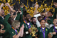 1st November 2019, Yokohama, Japan;  Siya Kolisi of South Africa celebrates with the trophy during the award ceremony after the 2019 Rugby World Cup Final match between England and South Africa at the International Stadium Yokohama in Yokohama, Kanagawa, Japan on November 2, 2019.