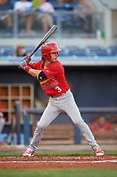 Palm Beach Cardinals shortstop Kramer Robertson (3) at bat during a game against the Charlotte Stone Crabs on April 21, 2018 at Charlotte Sports Park in Port Charlotte, Florida.  Charlotte defeated Palm Beach 5-2.  (Mike Janes/Four Seam Images)
