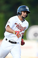 Tri-City ValleyCats second baseman Alex Hernandez (13) runs the bases after hitting a home run during a game against the Batavia Muckdogs on August 2, 2014 at Joseph L. Bruno Stadium in Troy, New  York.  Tri-City defeated Batavia 8-4.  (Mike Janes/Four Seam Images)