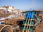 Lobster pots on the quayside Bridlington harbour, Yorkshire, England