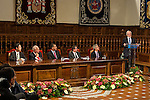 "The rector of the University of Alcala de Henares, Fernando Galban, Antonio Fraguas de Pablo ""Forjes"" , Spanish king, Felipe VI, spanish external subjects minister, José Manuel García-Margallo, and Alcala de Henares mayors, Javier Rodríguez Palacios before the Quevedos iberoamerican award of grafic humor 2014. May 26,2016. (ALTERPHOTOS/Rodrigo Jimenez)"
