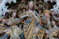St John revealing his mission, polychrome high relief in the second row on the North side of the Gothic choir screen in the North ambulatory, 1490-1530, commissioned by canon Adrien de Henencourt and made by the sculptor Antoine Ancquier, depicting the life of St John the Baptist, at the Basilique Cathedrale Notre-Dame d'Amiens or Cathedral Basilica of Our Lady of Amiens, built 1220-70 in Gothic style, Amiens, Picardy, France. Amiens Cathedral was listed as a UNESCO World Heritage Site in 1981. Picture by Manuel Cohen