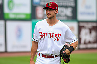 Wisconsin Timber Rattlers catcher A.J. Murray (14) during game one of a Midwest League doubleheader against the Kane County Cougars on June 23, 2017 at Fox Cities Stadium in Appleton, Wisconsin.  Kane County defeated Wisconsin 4-3. (Brad Krause/Krause Sports Photography)
