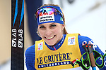 Cross Country Ski World Cup 2018 FIS in Val Di Fiemme, on January 7, 2018; Tour de ski; Final Climb; Women 9.0 Km Pursuit Free; Final podium with victory of Heidi Weng (NOR) ahaed of Ingvild Flugstad Oestberg (NOR) and essica Diggins (USA)