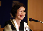 "April 26, 2018, Tokyo, Japan - Japanese actress Shinobu Terajima speaks before press for her movie ""OH LUCY!"", directed by Japanese film maker Atsuko Hirayanagi at the Foreign Correspondents' Club of Japan in Tokyo on Thursday, April 26, 2018. The movie will be screening in Japan from April 28.   (Photo by Yoshio Tsunoda/AFLO) LWX -ytd-"